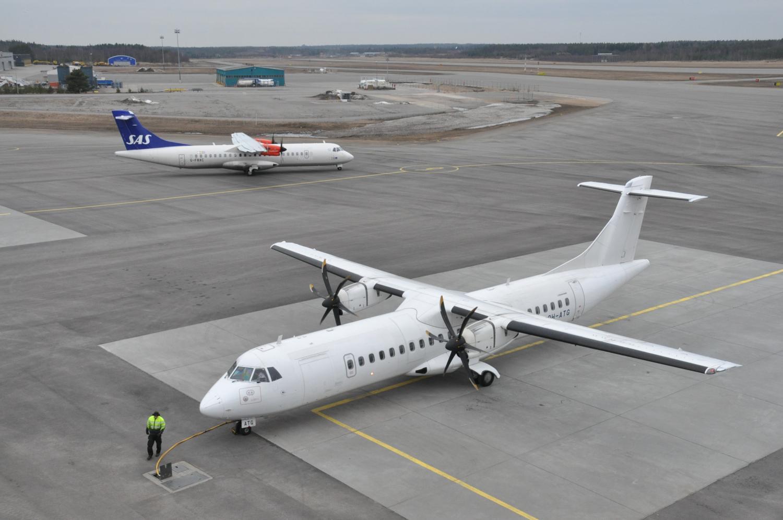 flygfält SAS Stockholmsflyg möter Finnairs flyg från Helsingfors. Foto: J-O Edberg