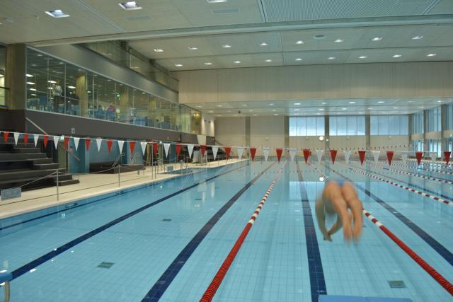 En typ hoppar i en simbassäng