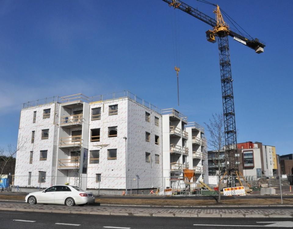 Höghusbygge på gång
