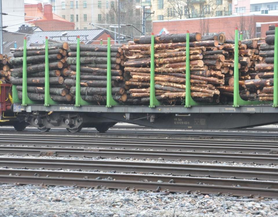 Stockar transporteras på tåg.