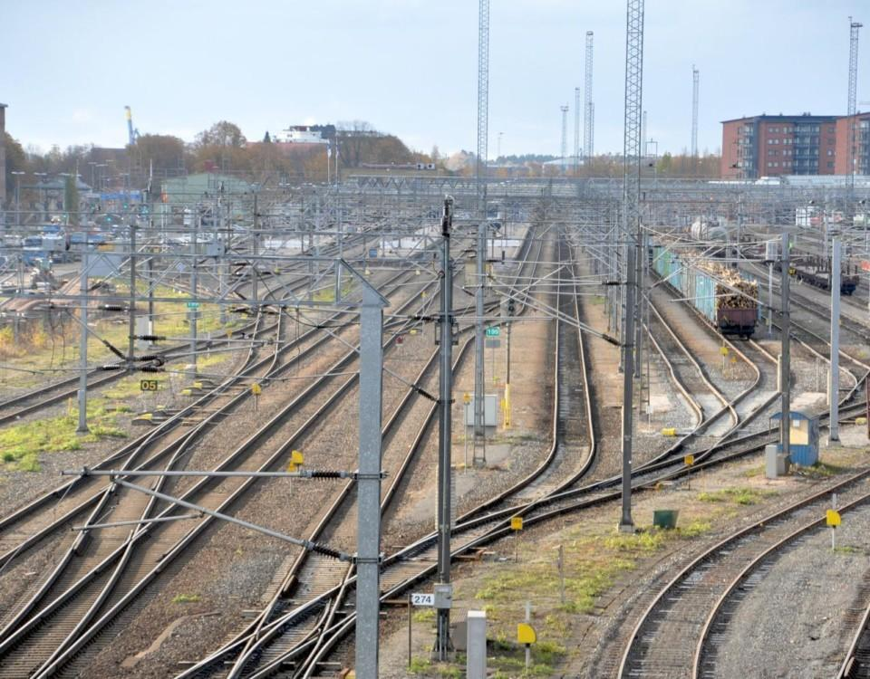 Järnvägsspår på bangård