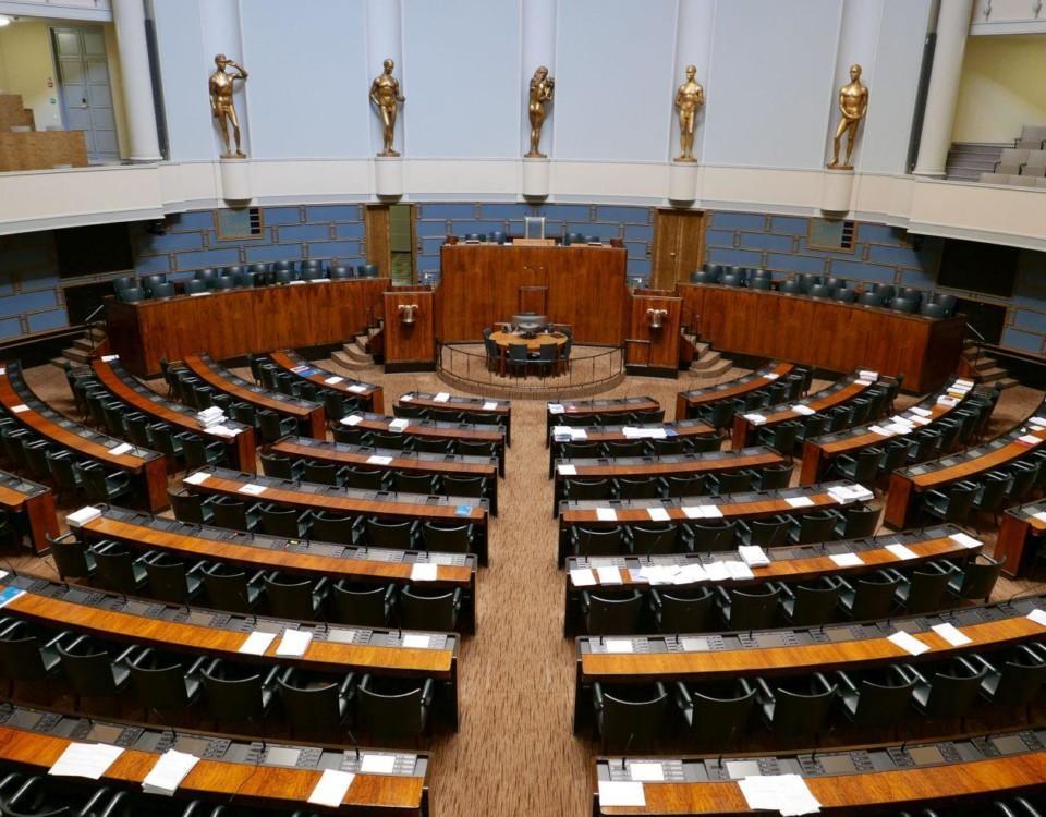 Stor sal i Riksdagshuset.
