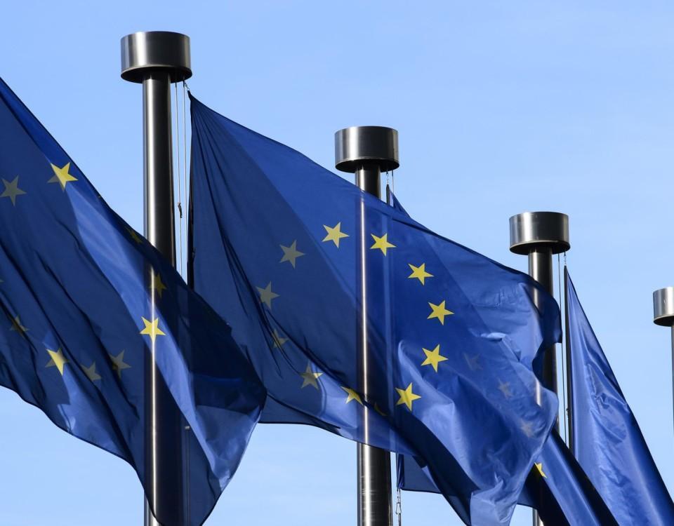EU-flaggor i rad som vajar lätt i vinden.