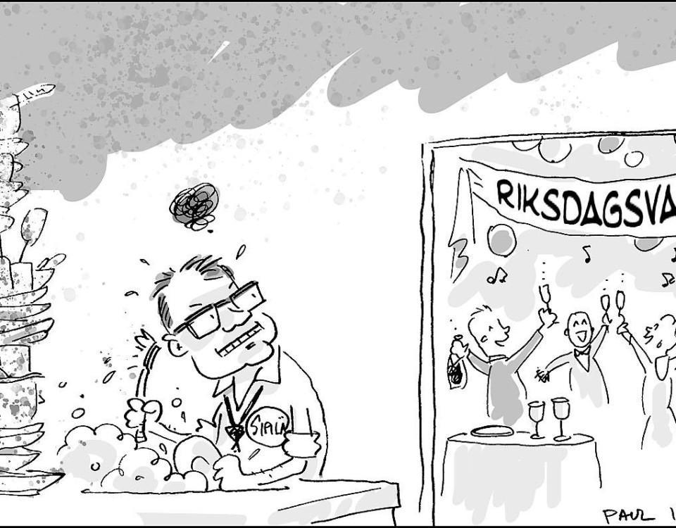 En karikatyr av Juha Sipilä som står i köket och diskar när alla andra festar efter riksdagsvalet 2019.