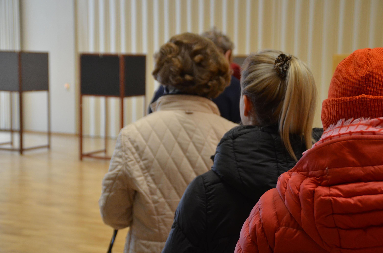 Folk som köar till röstningsbås.