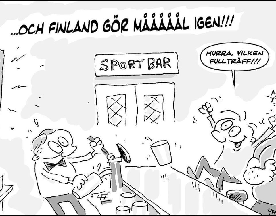 Ritad bild om att Finland gör mål.