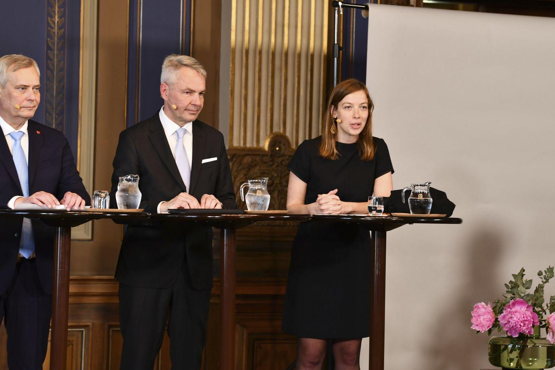 Antti Rinne, Pekka Haavisto och Li Andersson.