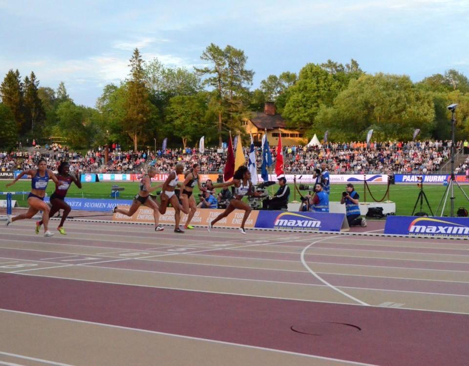 Målgång i damernas 110m häck på Pavo Nurmi Games 2019 i Åbo.
