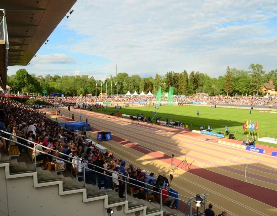 En bild på Paavo Nurmi stadion i Åbo under Paavo Nurmi Games 2019.