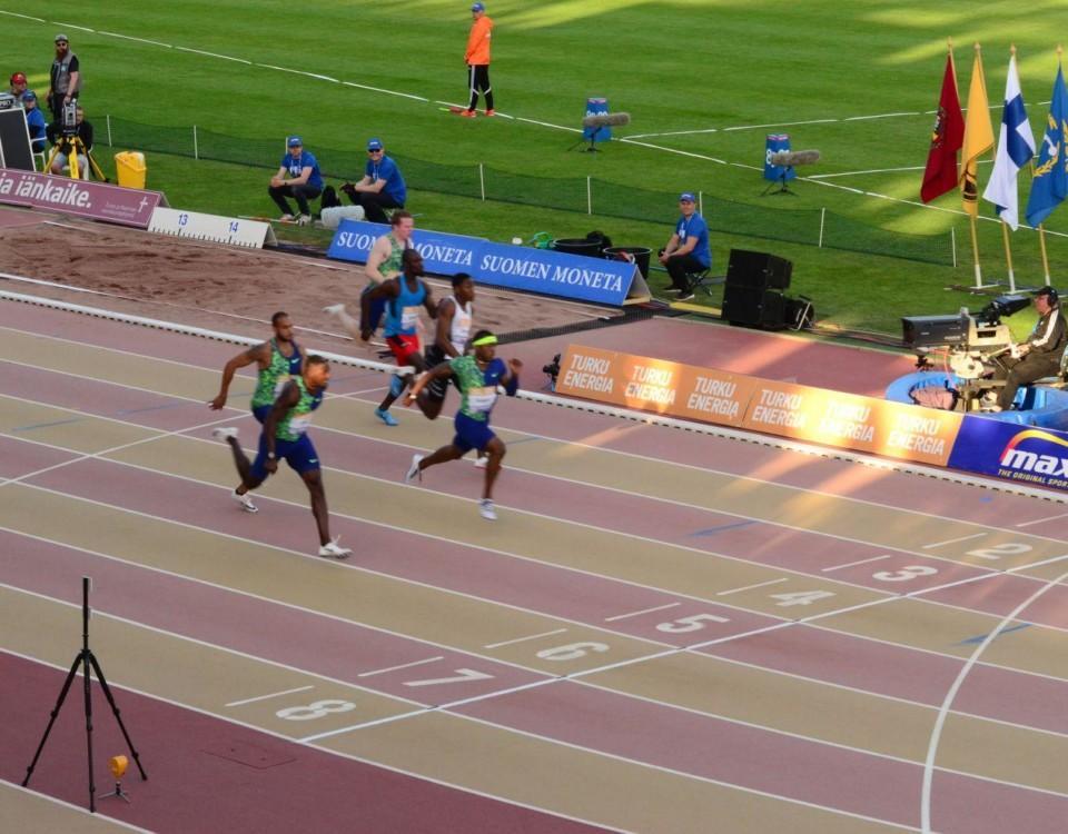Bild på herranras 100m lopp under Paavo Nurmi Games 2019 i Åbo