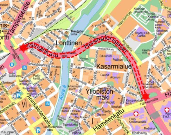 Karta över den avstängda vägsträckan