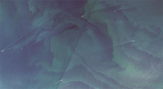 Satellitbild på blågröna alger.