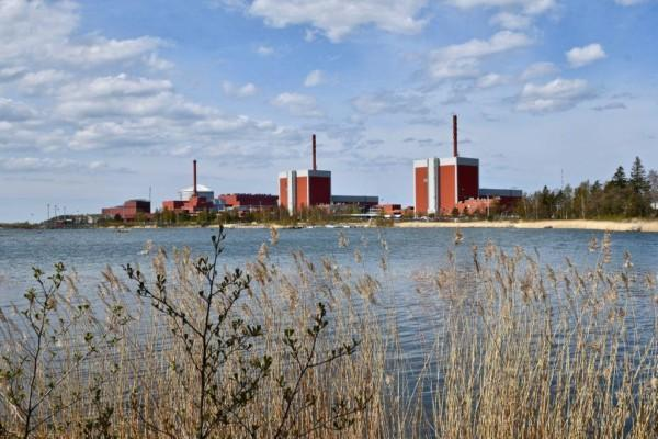 i förgrunden ser man vegetation och vatten. På andra sidan vattnet ser man siluetten av kärnkraftverket