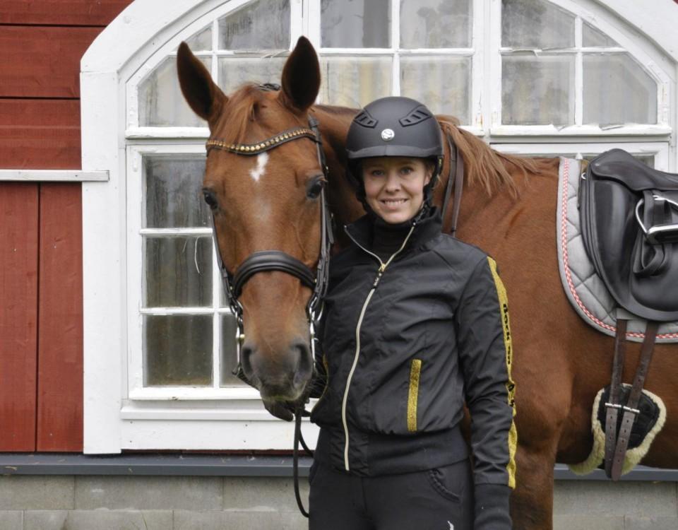 Häst och en ryttare som står på marken