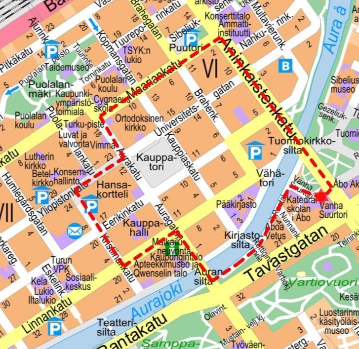 Karta över Åbo.