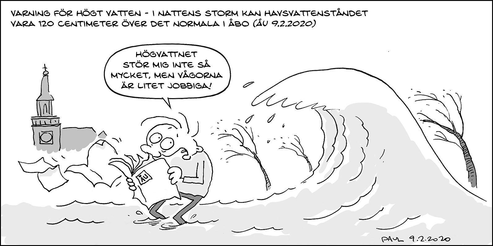 tecknad seriestrip om storm och högt vatten
