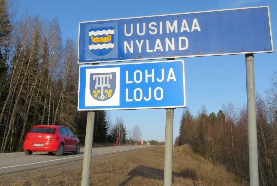 Skylt vid landskapet Nylands gräns