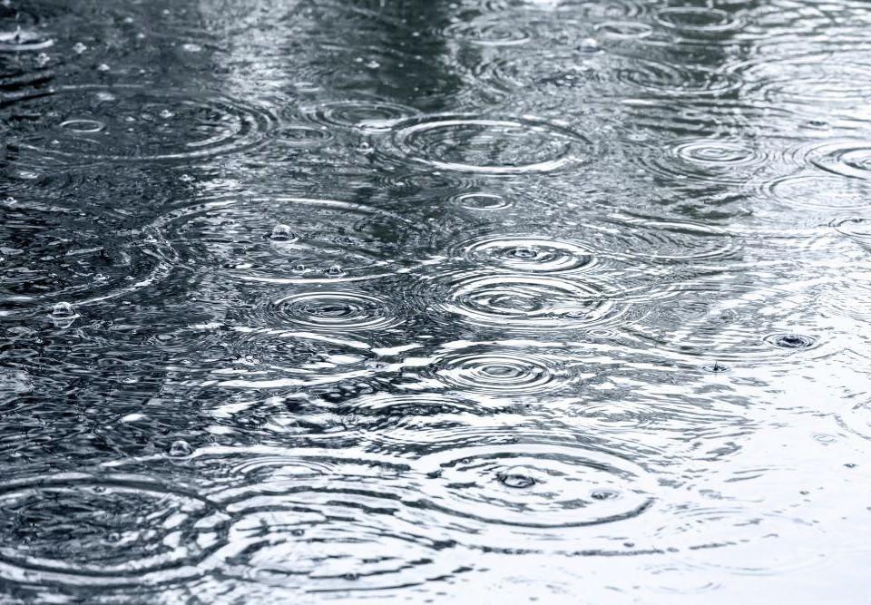 Regndroppar på vattnet.