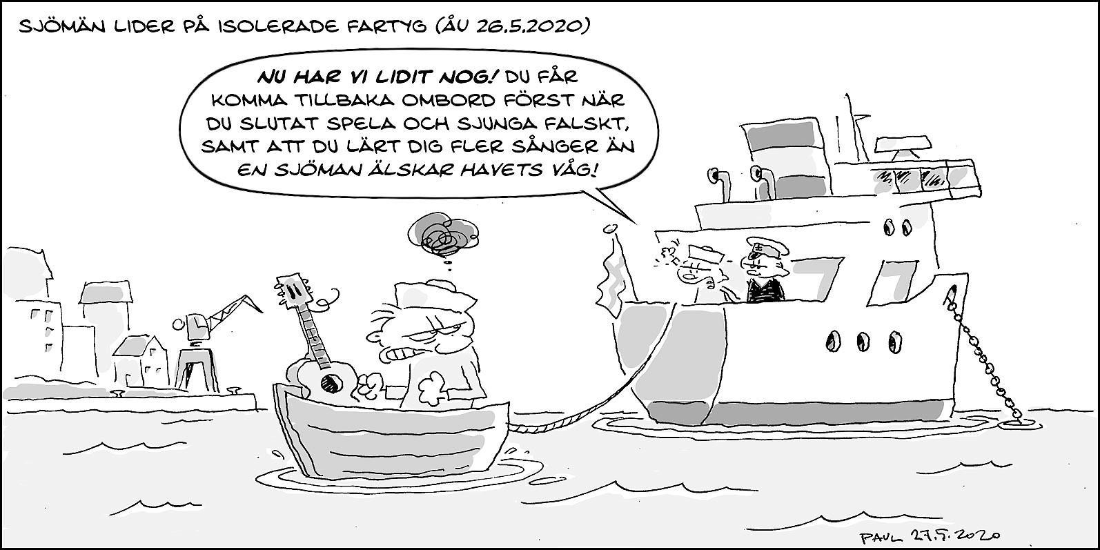 teckning med gnurfar i båt