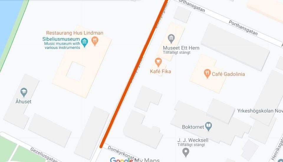 Karta med ett gatuavsnitt utmärkt.