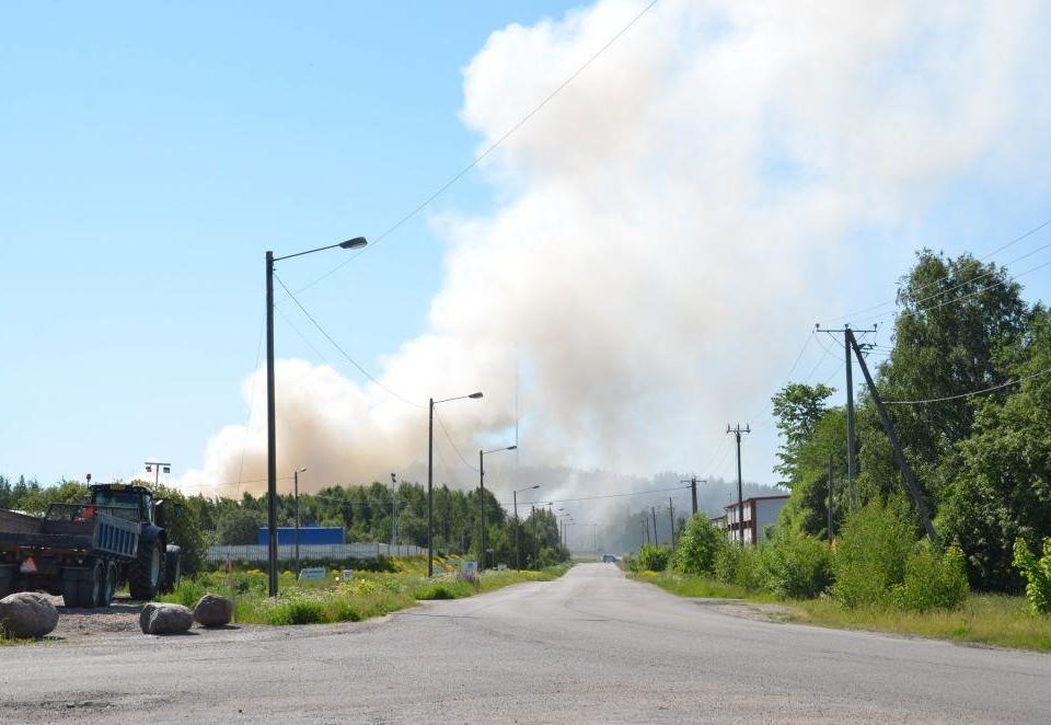 Mycket rök bakom en väg och ett skogsområde.