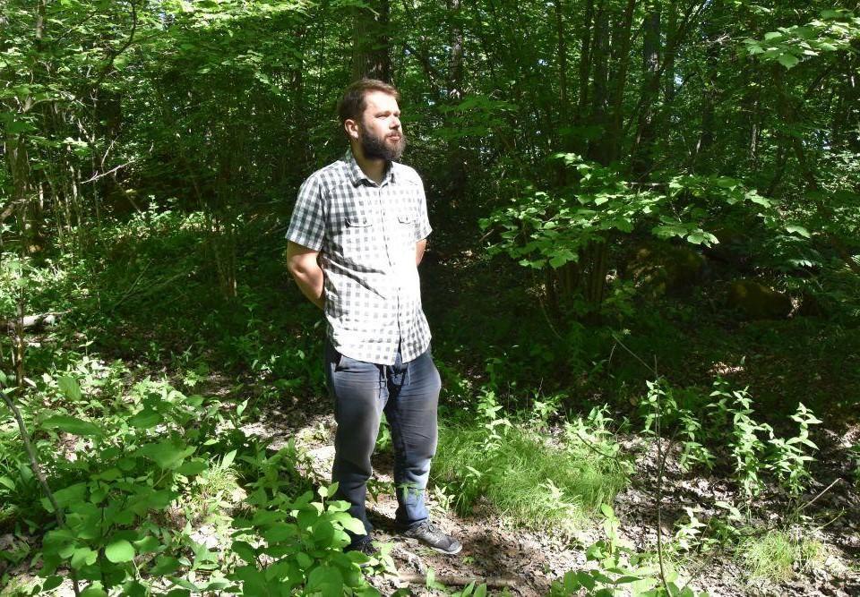 En man står i skogen på sommaren.