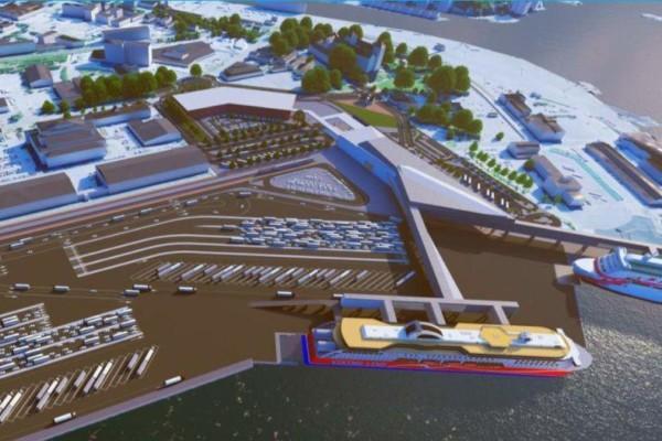 En ritning av en hamn