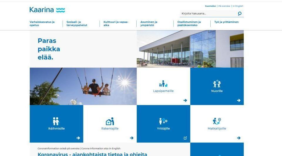 """Skärmdump av en webbplats i blått och vitt med rutor med ord som """"lapsiperheille"""" och """"Yrittäjille""""."""