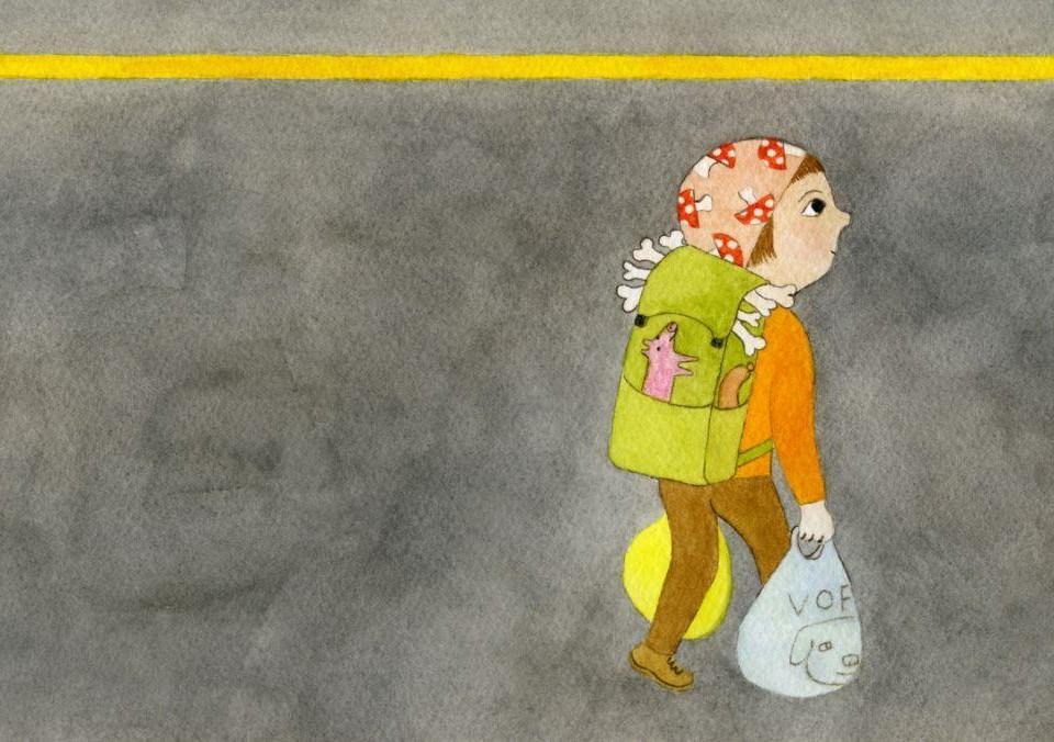 Tecknad bild av ett barn som bär på många väskor. En av kassarna har en hund på sig.