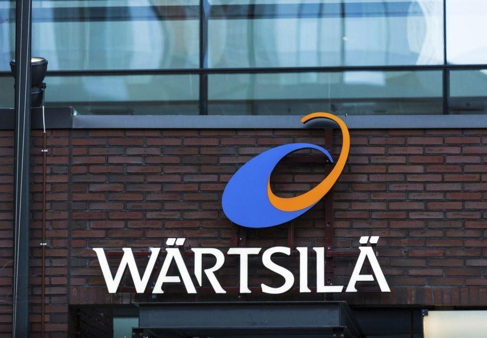 Wärtsiläs logo uppsatt på en byggnad