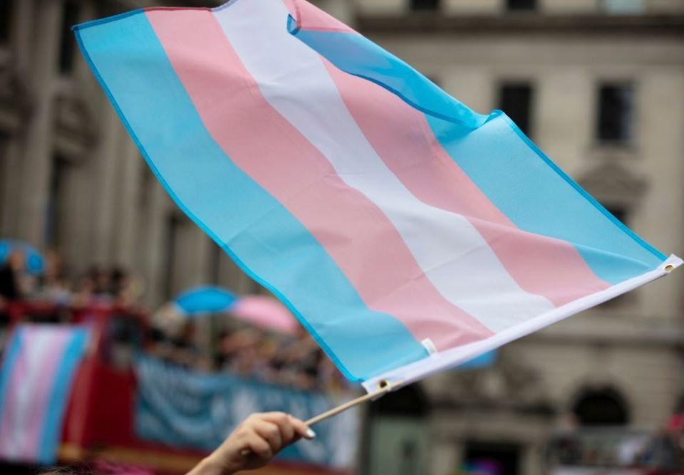 Randig flagga i blått, vitt och rött.