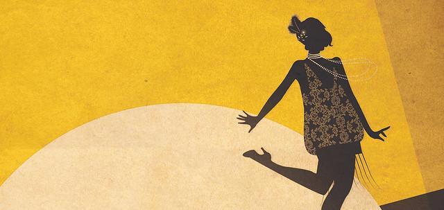 Affisch för pjäsen Berliinistä Broadwatlle som föreställer en ritad kvinnofigur i 1920-talskläder som står mot en gul bakgrund i en ljuskägla
