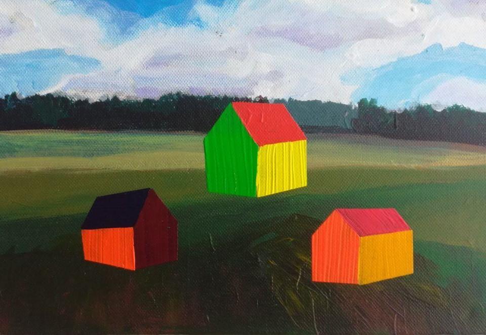 målning av landsbygd med hus