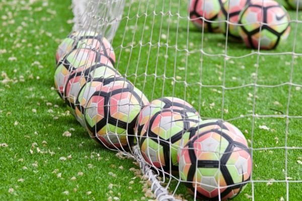 fotbollar på rad i nät