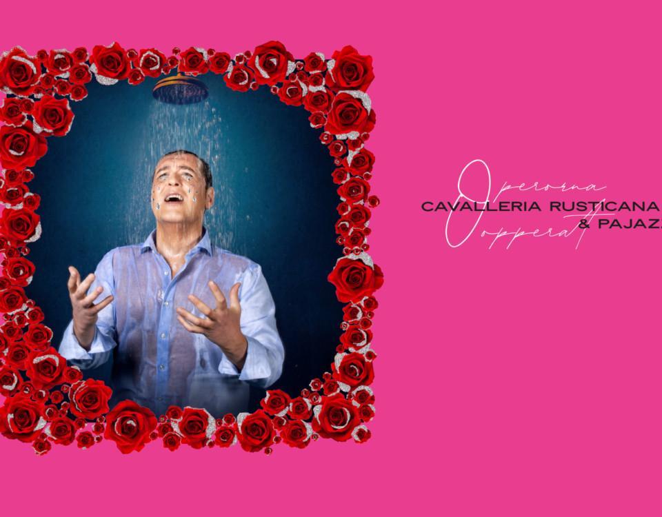 rosa poster med sjungande man