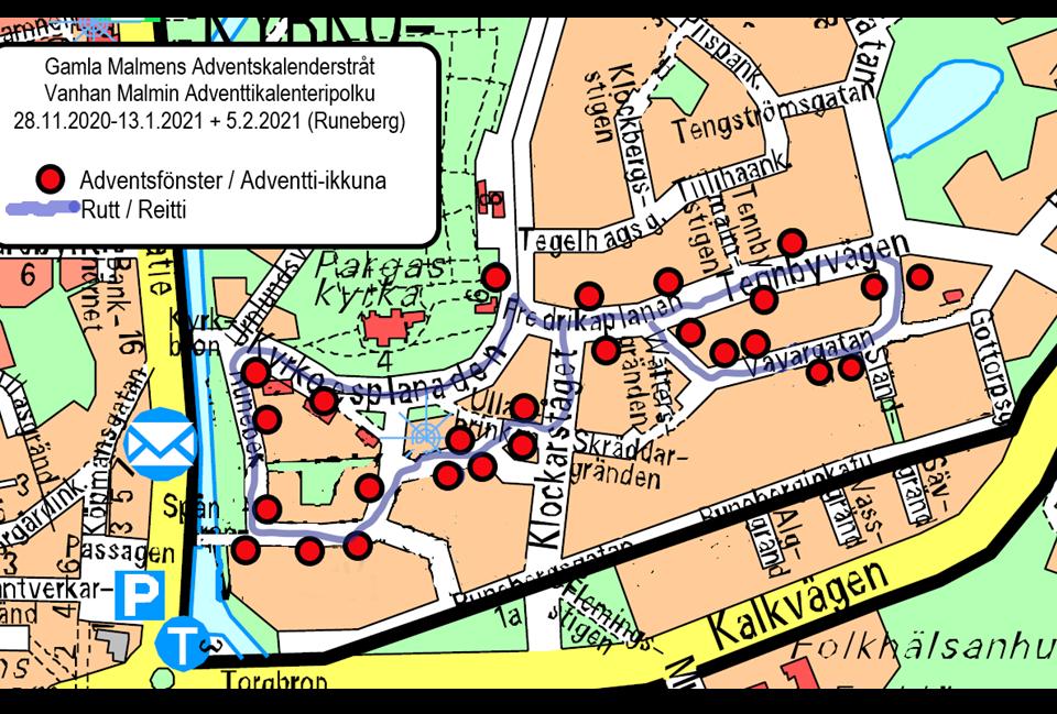 Karta som visar var fönster ska tändas i invånarnas advenstkalender