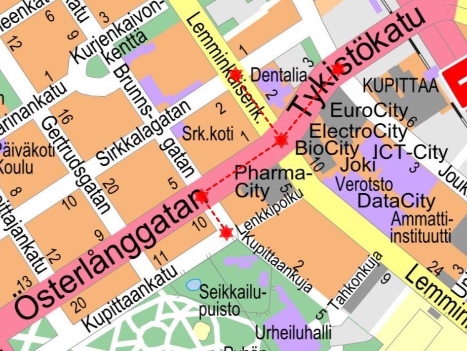 en karta på österlånggatan vid kuppis