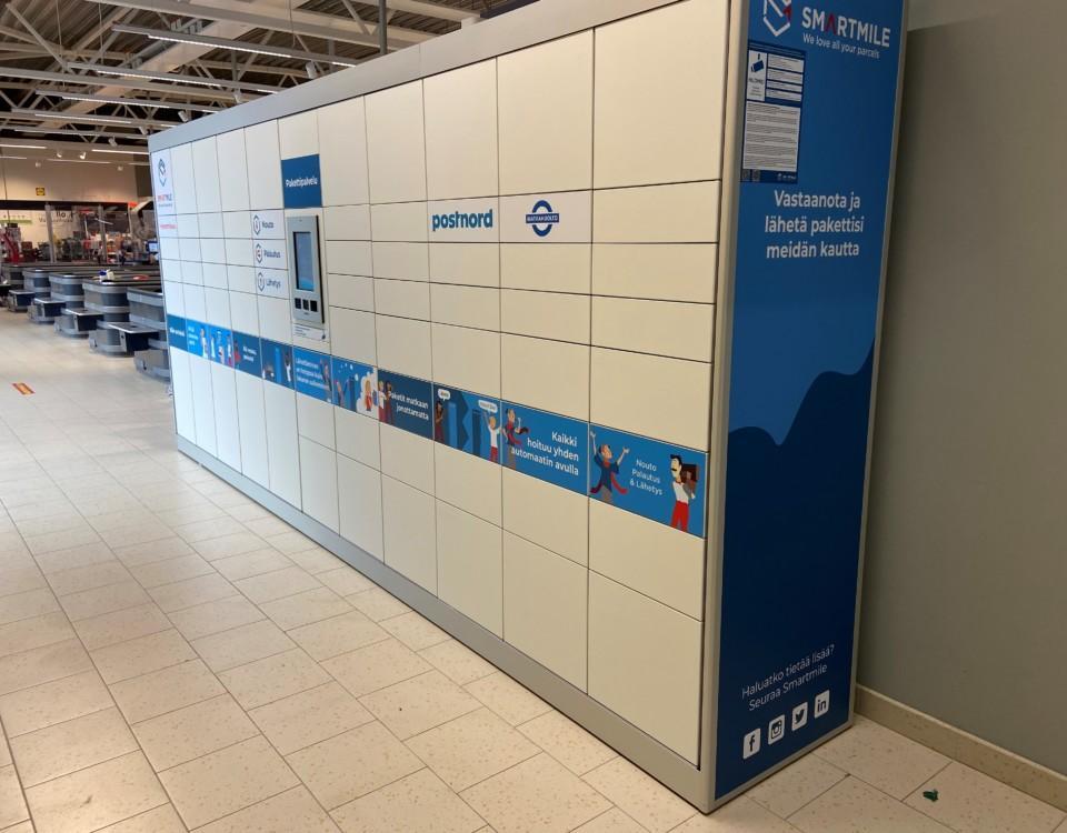 en paketautomat i en affär