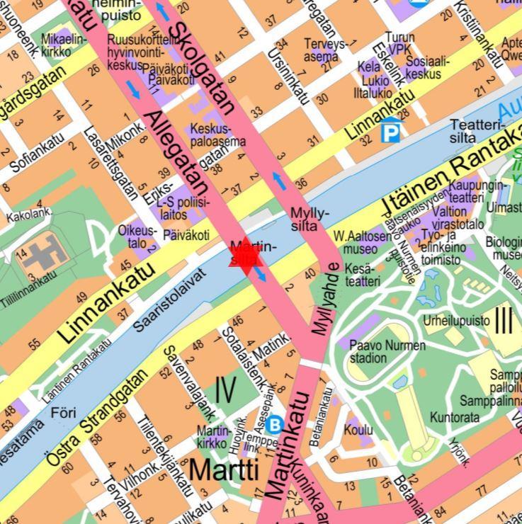 karta över Åbo centrum