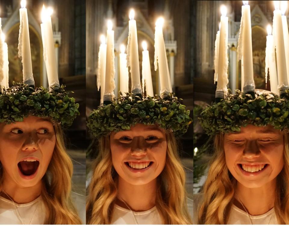 tre bilder av en skrattande lucia med ljuskrona på huvudet