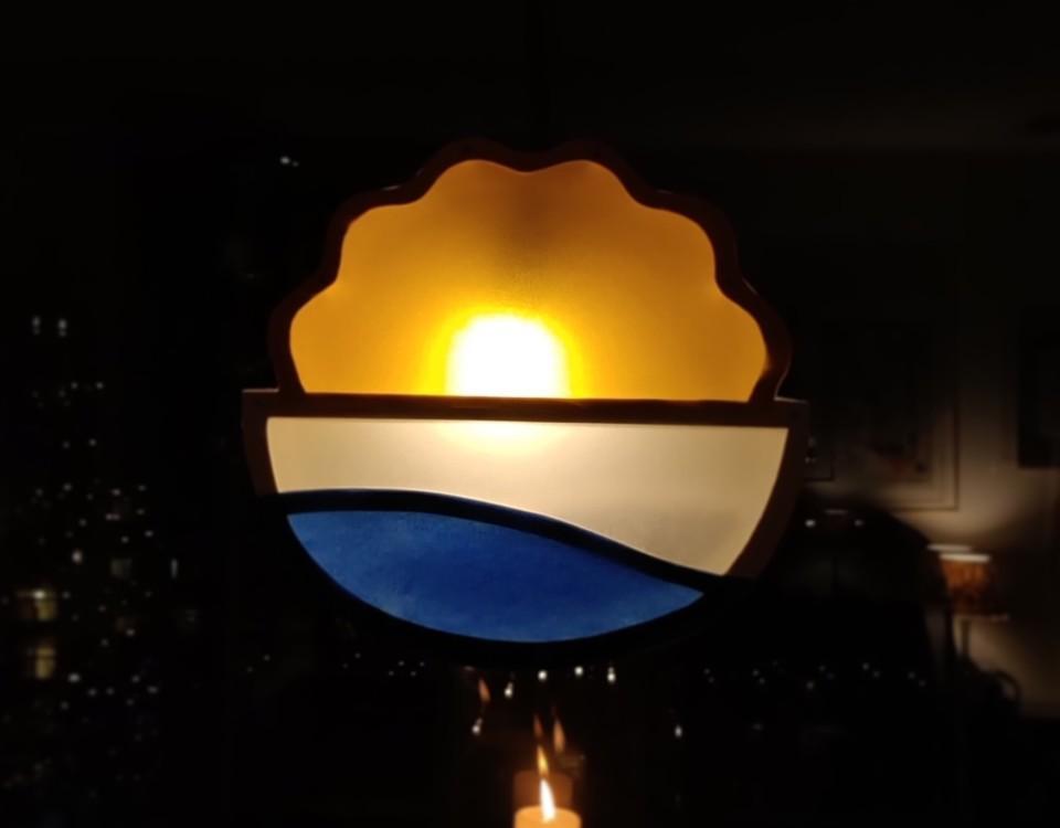 vackert lysande ljussymbol i brunt, vitt och blått