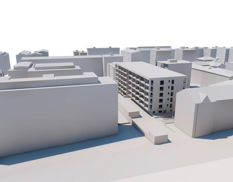 En vision av ett höghus i ett kvarter med andra höghus.