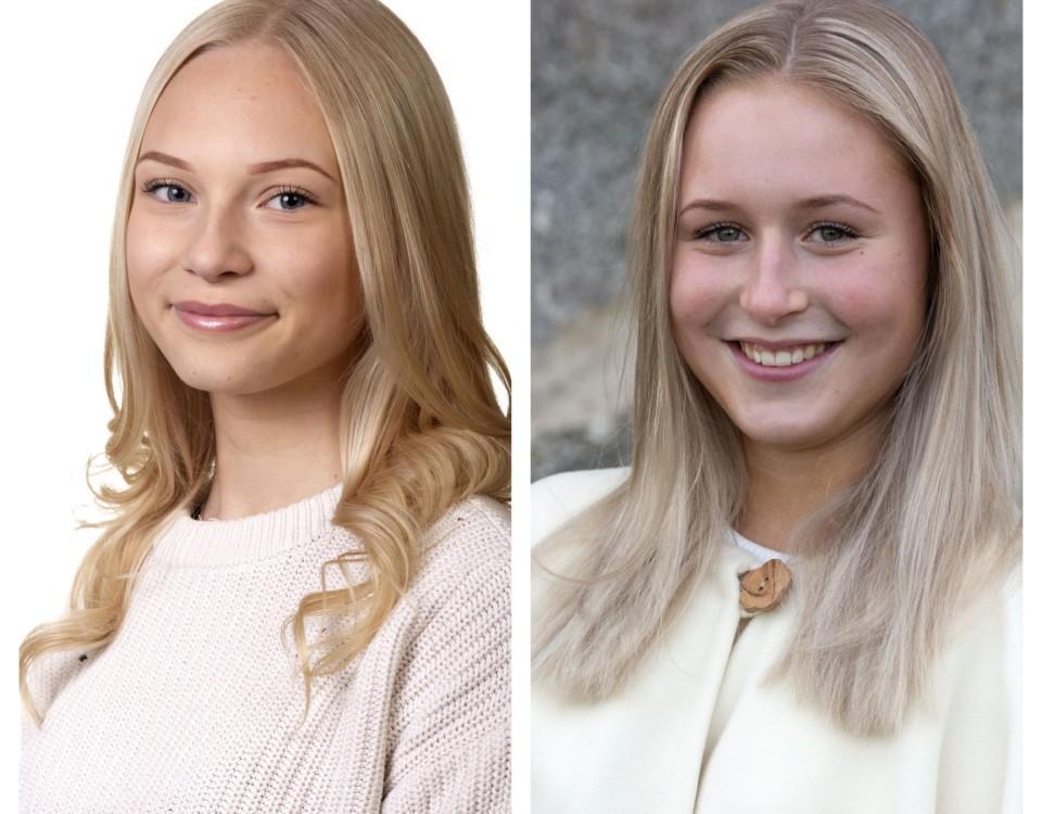 collagebild av två blonda flickor