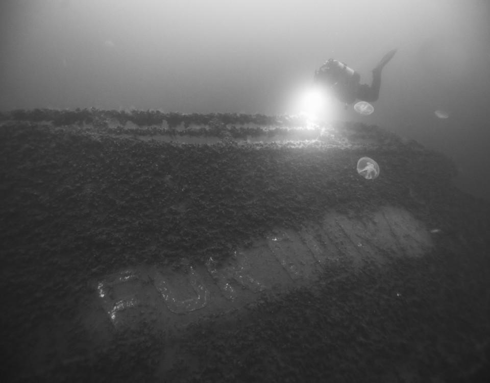 En dykare vid ett vrak