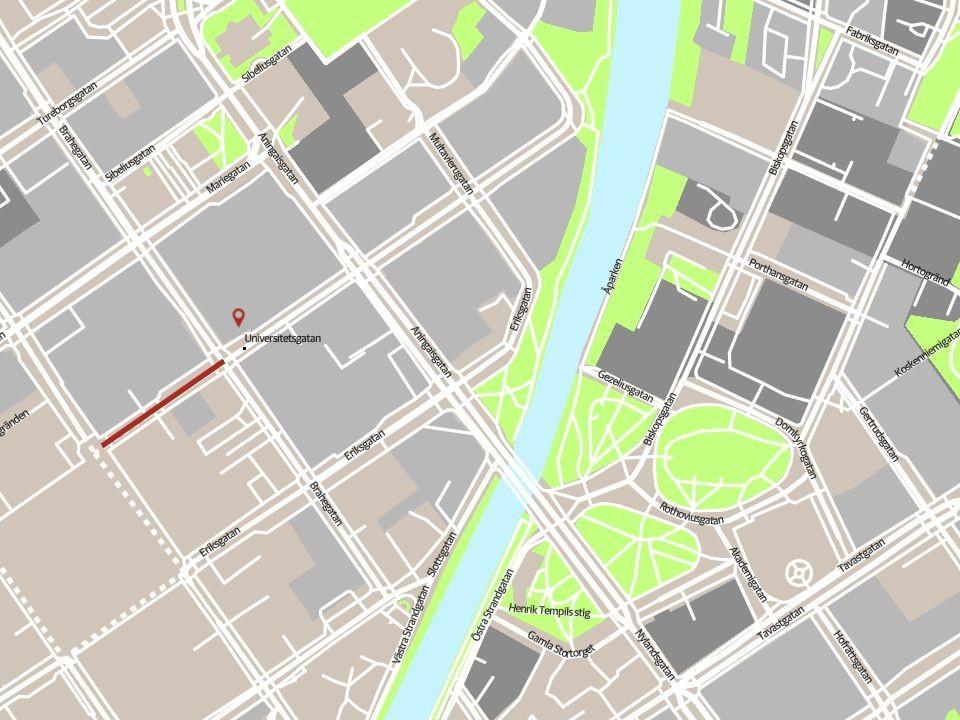 Karta över en del av Åbo centrum.
