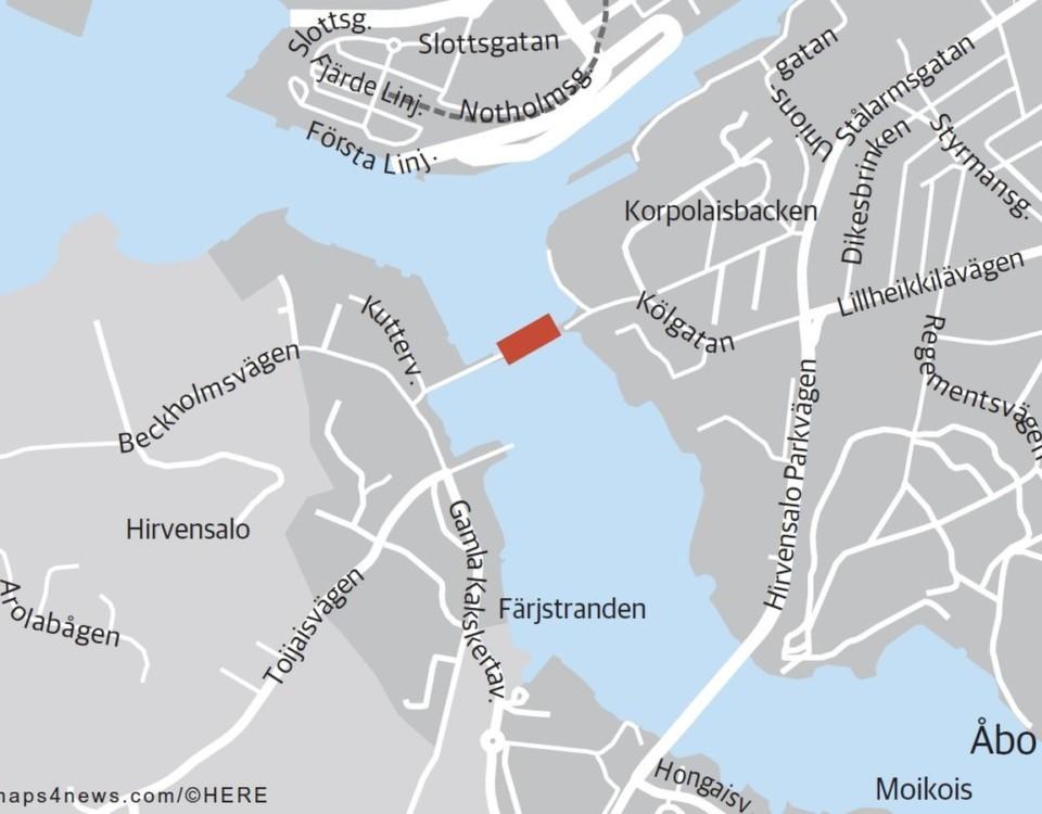 Karta över Färjstranden vid Hirvensalo