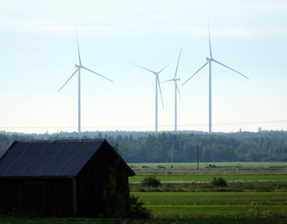 vindkraftverk på en äng