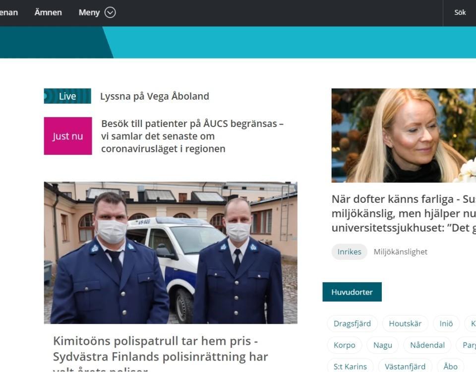 Yle Åbolands webbsida