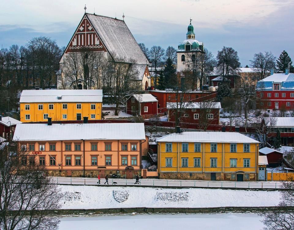 Vy över gamlastan i Borgå.