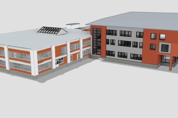 en skiss på en skolbyggnad